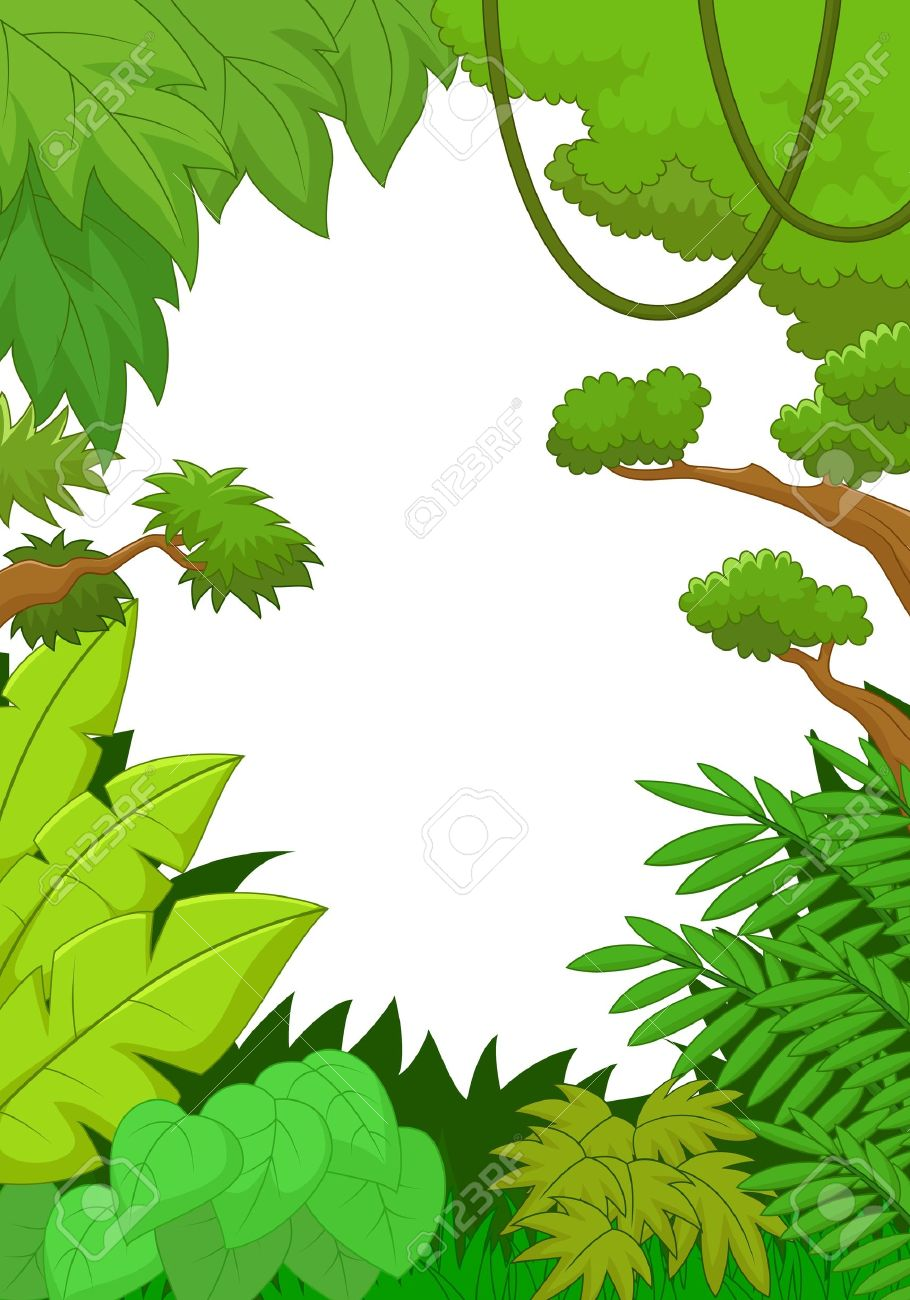 tropical jungle cartoon background royalty free cliparts vectors rh 123rf com vector jungle tree vector jungle tree