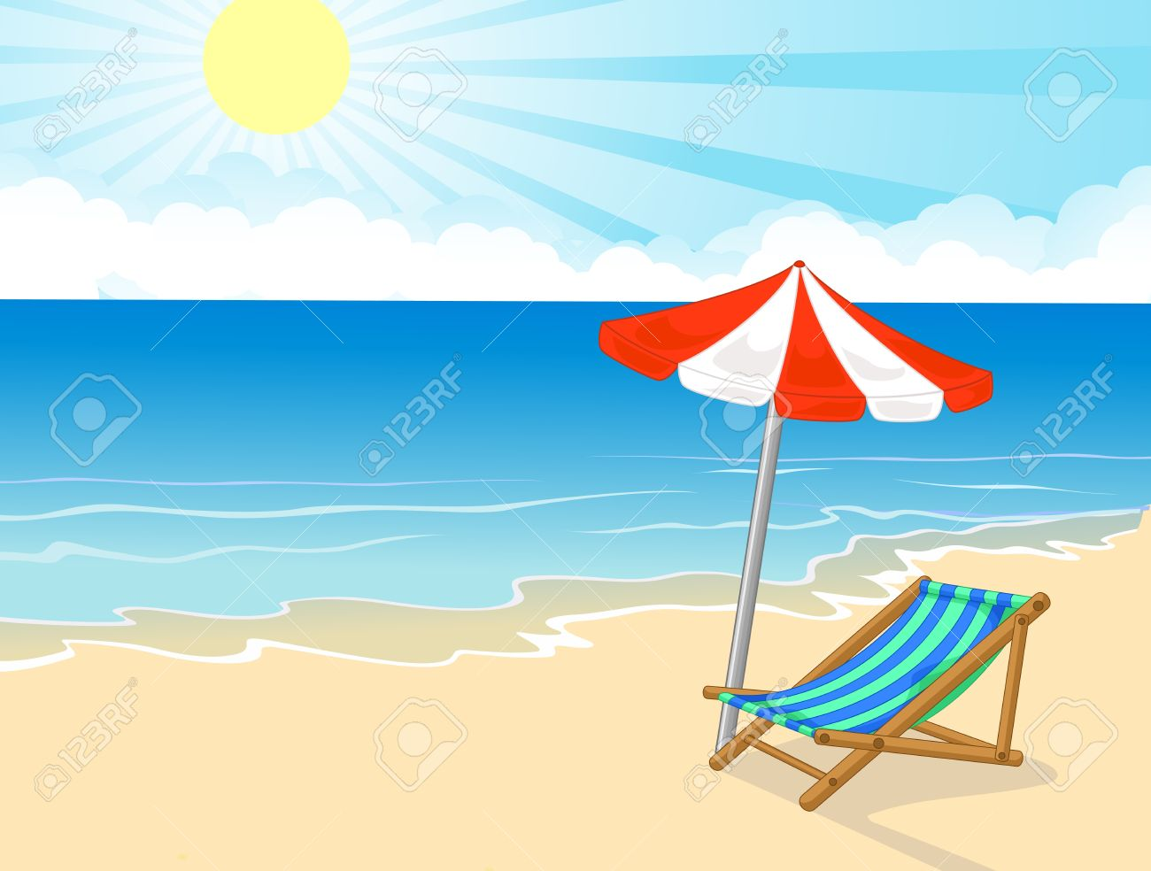 Cartoon beach chair and umbrella on tropical beach royalty free cartoon beach chair and umbrella on tropical beach stock vector 27649031 voltagebd Gallery