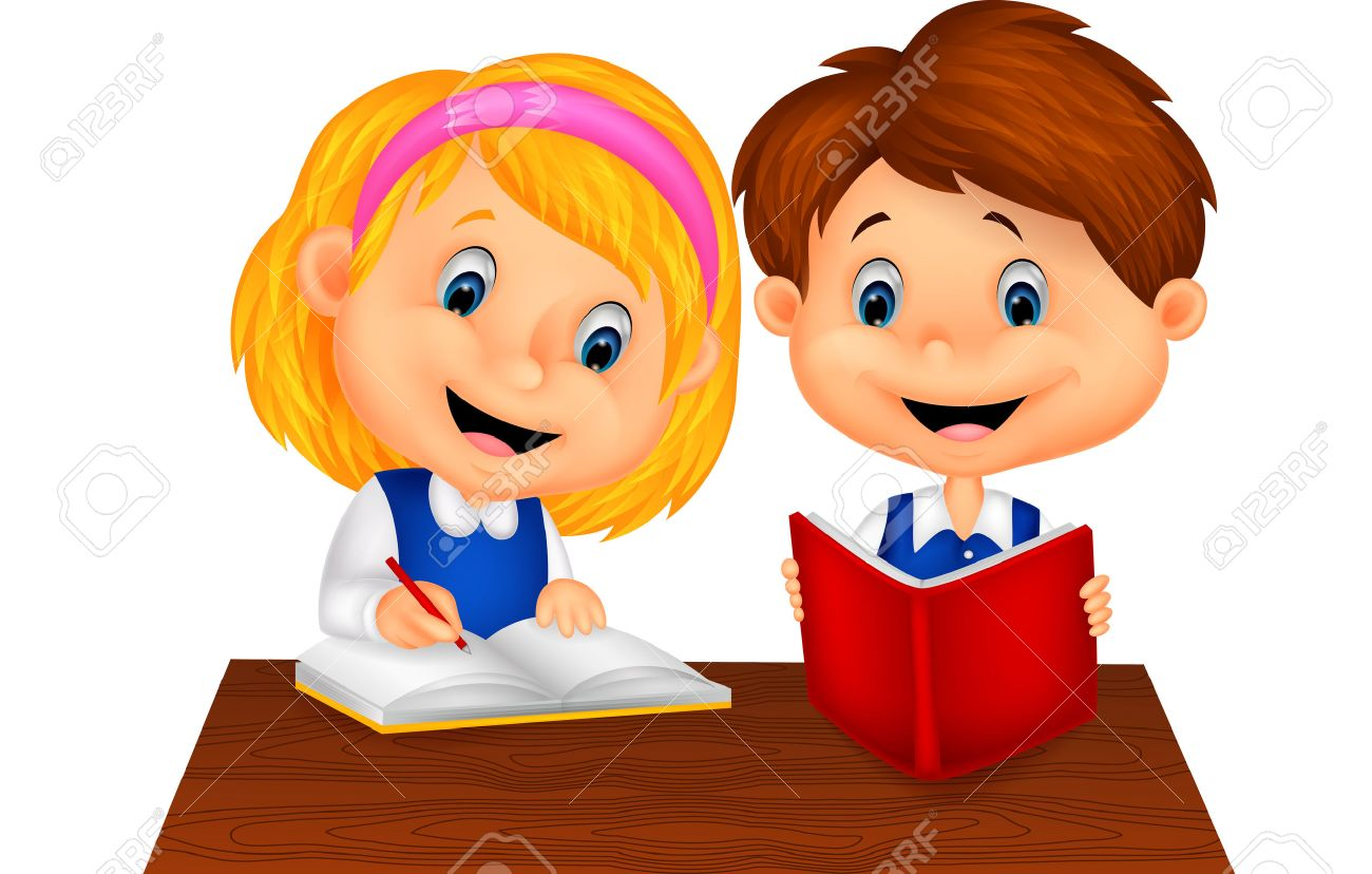Image result for caricature of two little kids, one writing