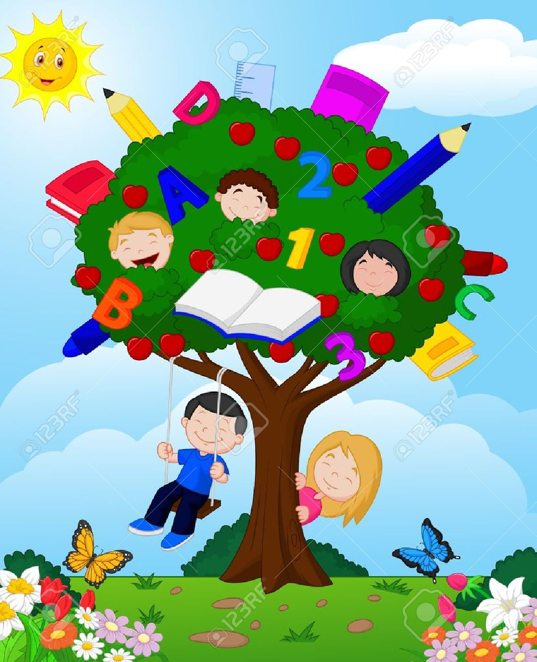 Kid Climbing Tree Climbing Trees Cartoon