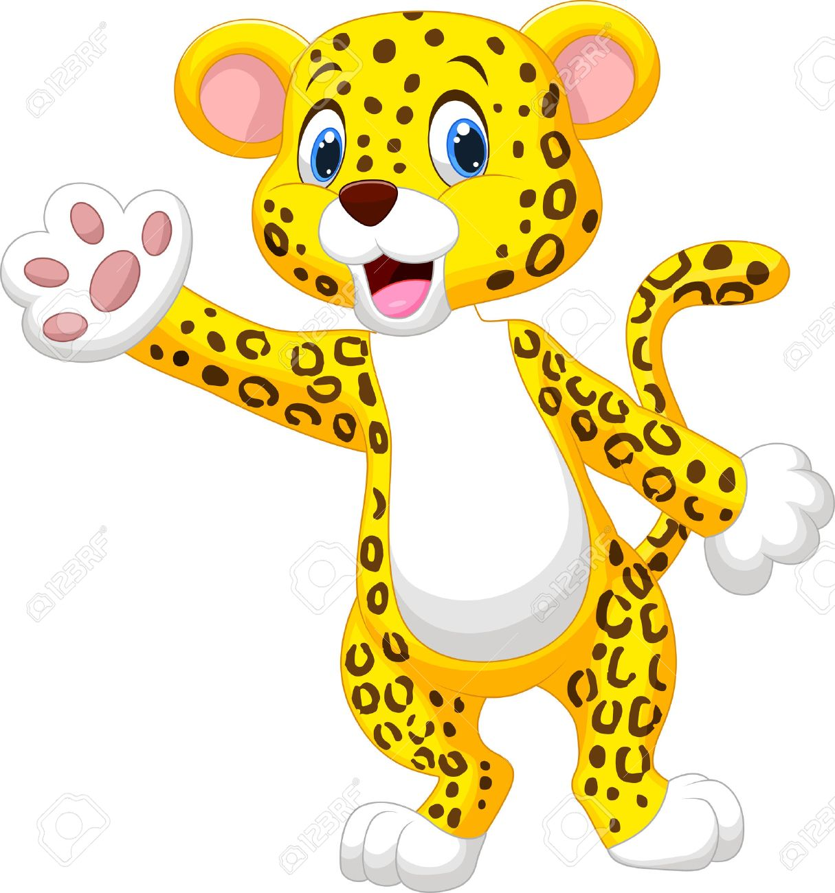 Cute Cartoon Leopard Waving Hand Royalty Free Cliparts, Vectors ... for Clipart Leopard Cute  111ane
