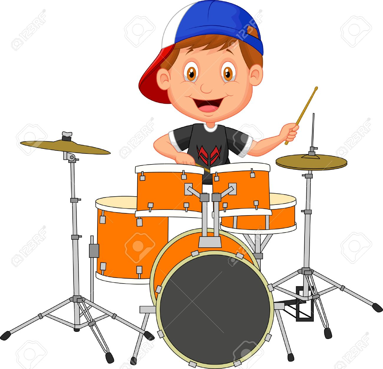 Little Boy Playing Drums Little Boy Cartoon Playing