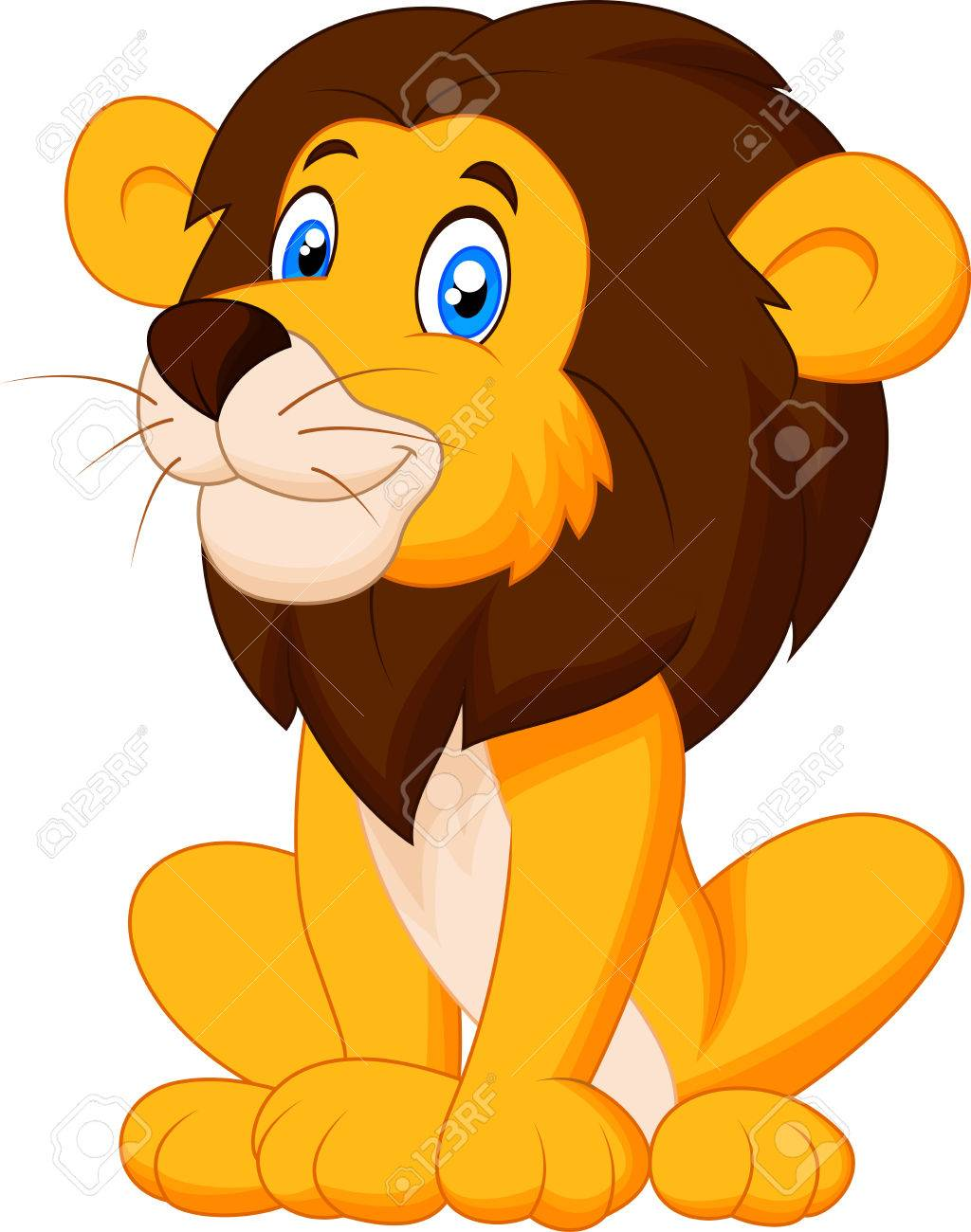 cute lion cartoon sitting stock vector 27657171