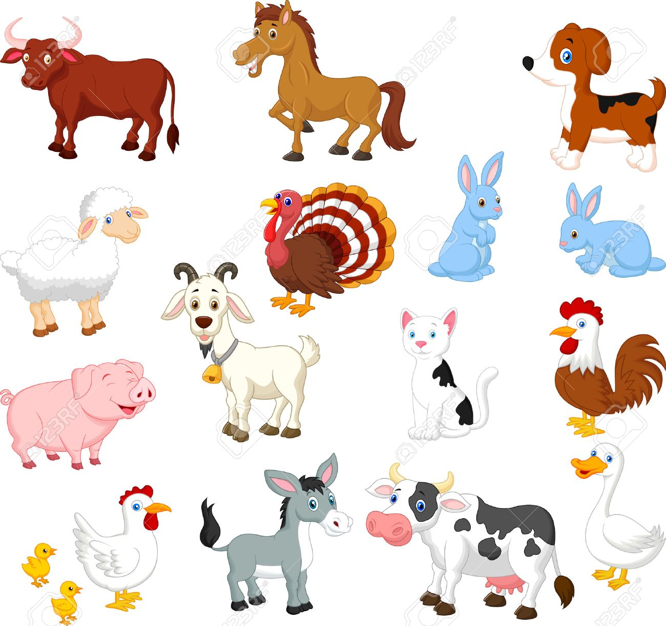 farm animal collection set royalty free cliparts vectors and