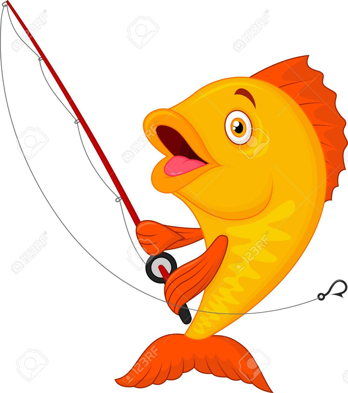 cute cartoon fish holding fishing rod royalty free cliparts