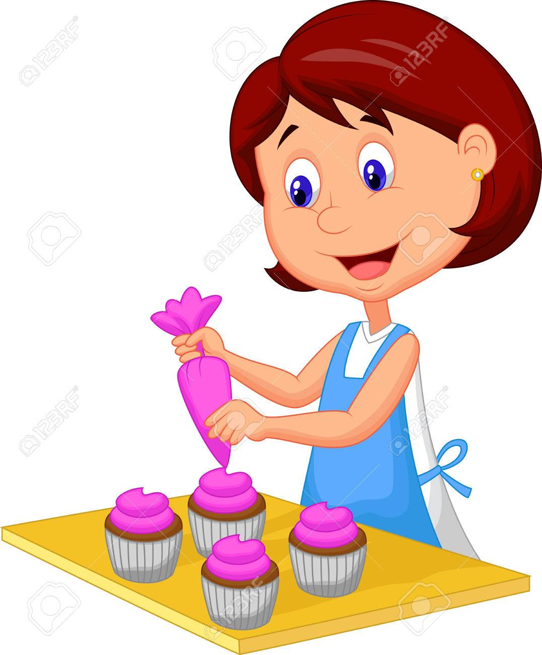catoon woman with apron decorating cupcakes stock vector 27657240 - Woman Decorating Cupcakes