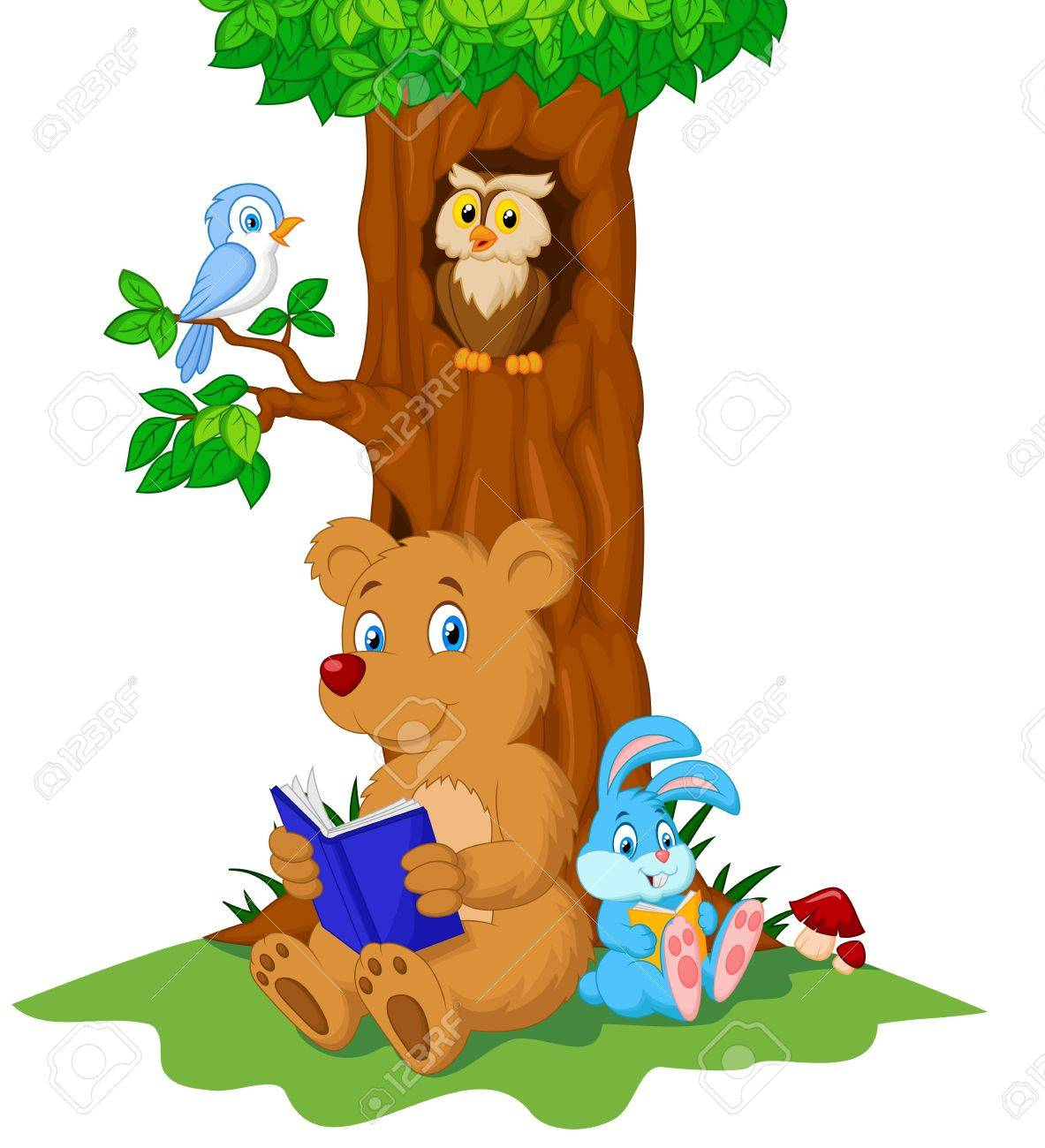 Cute animals cartoon reading book Stock Vector - 27657261