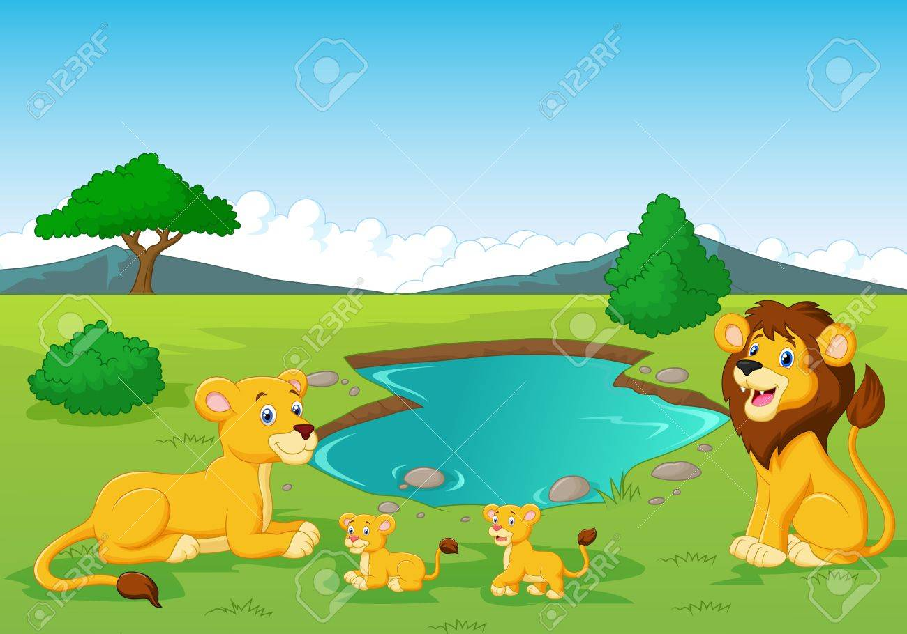 Cartoon Lion Family Near Watering Hole Royalty Free Cliparts Vectors And Stock Illustration Image 27657264