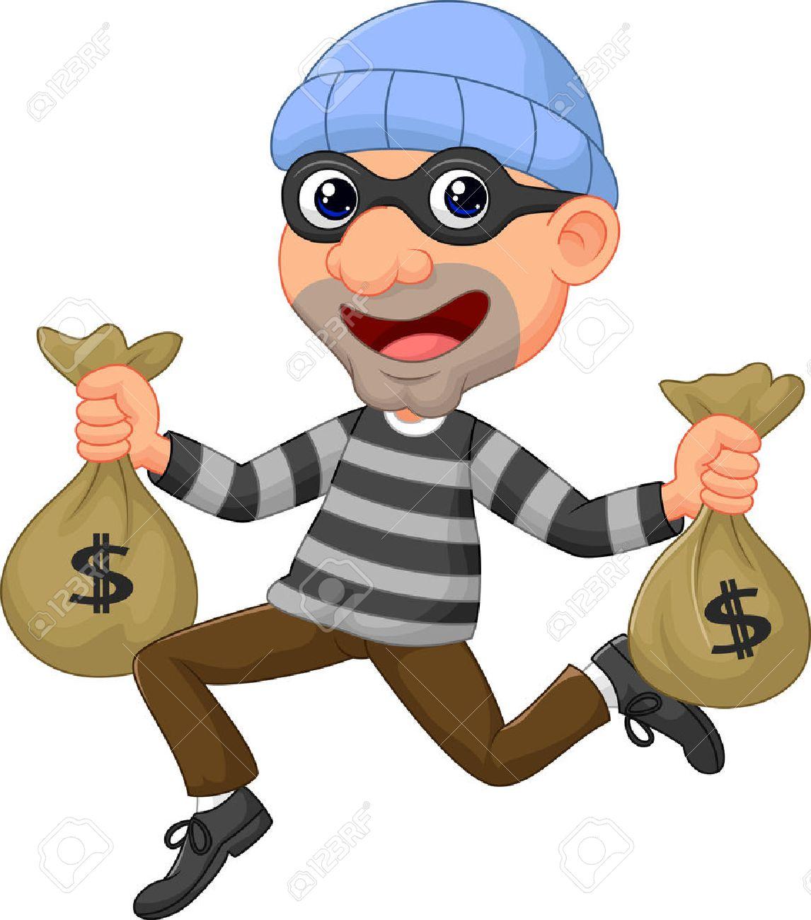 Cartoon Thief Running Thief Cartoon Carrying Bag of