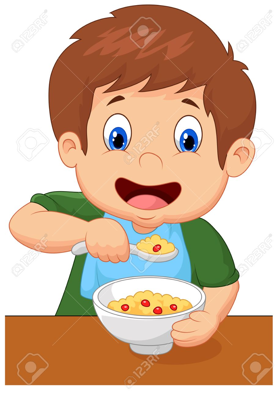 boy is having cereal for breakfast royalty free cliparts, vectors