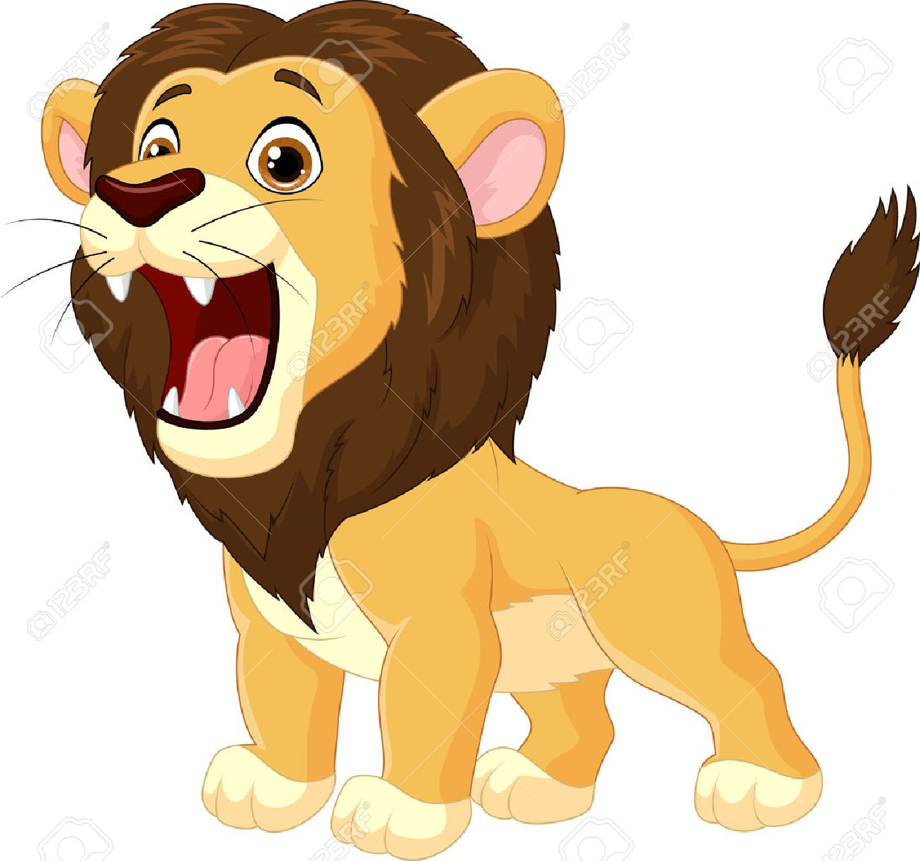 Cartoon Lion Roaring Stock Vector