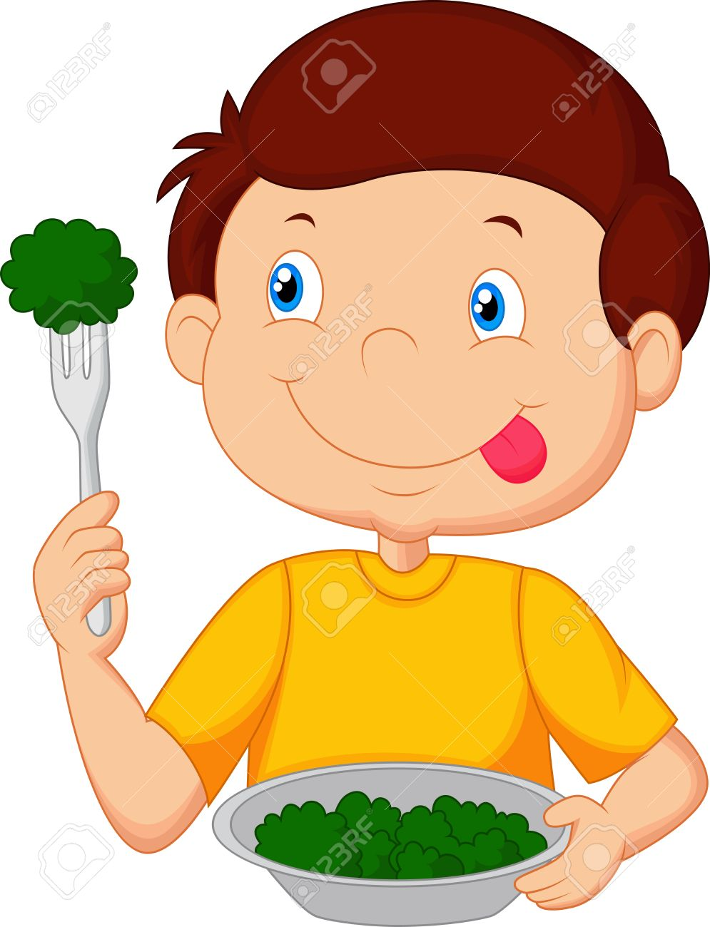 cute little boy eats vegetable using fork royalty free cliparts