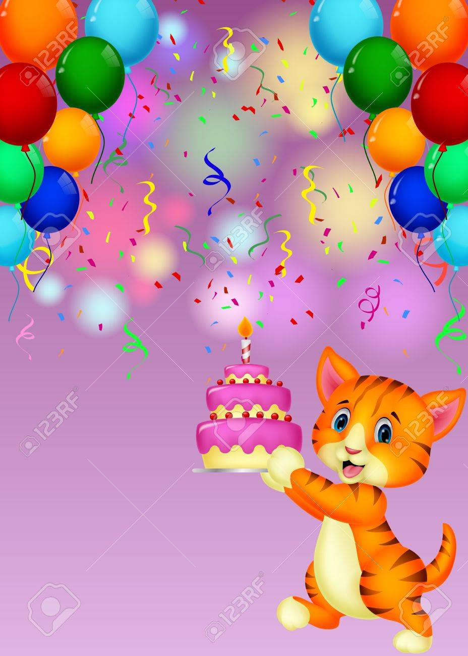 Cat Cartoon With Birthday Cake Royalty Free Cliparts Vectors And