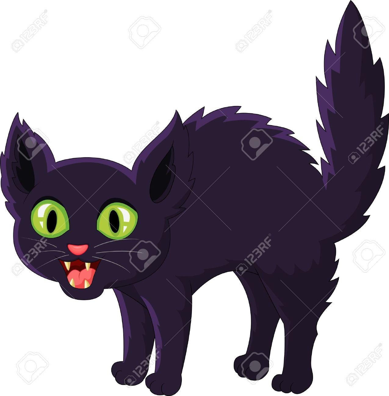 Frightened cartoon black cat - 33367598