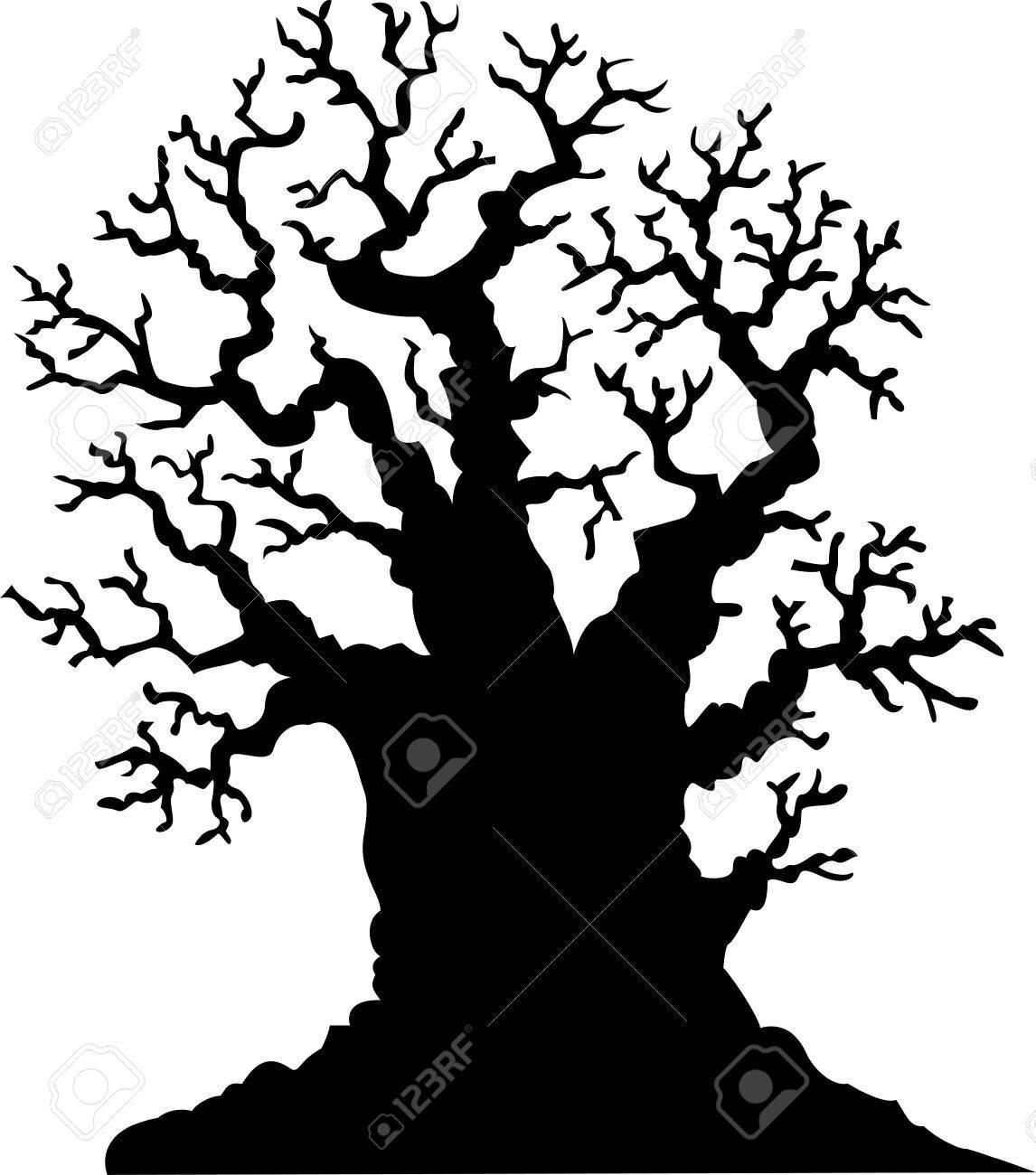 Silueta De árbol Sin Hojas De Roble De Dibujos Animados