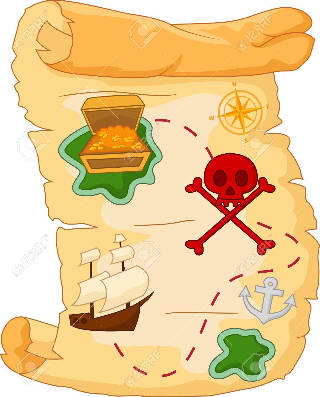 Treasure Map Cartoon Royalty Free Cliparts, Vectors, And Stock ... on
