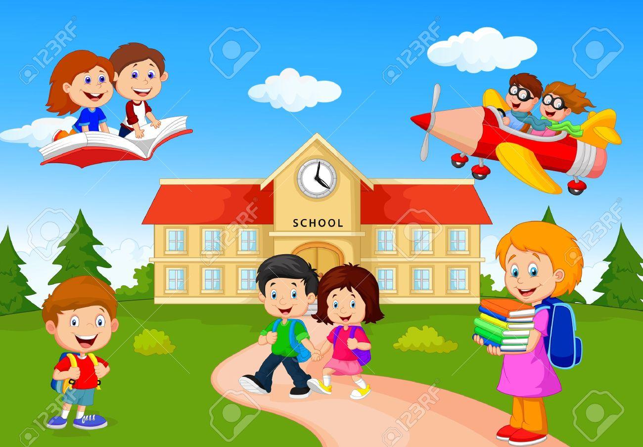 Niños Felices Escuela De Dibujos Animados Ilustraciones ...