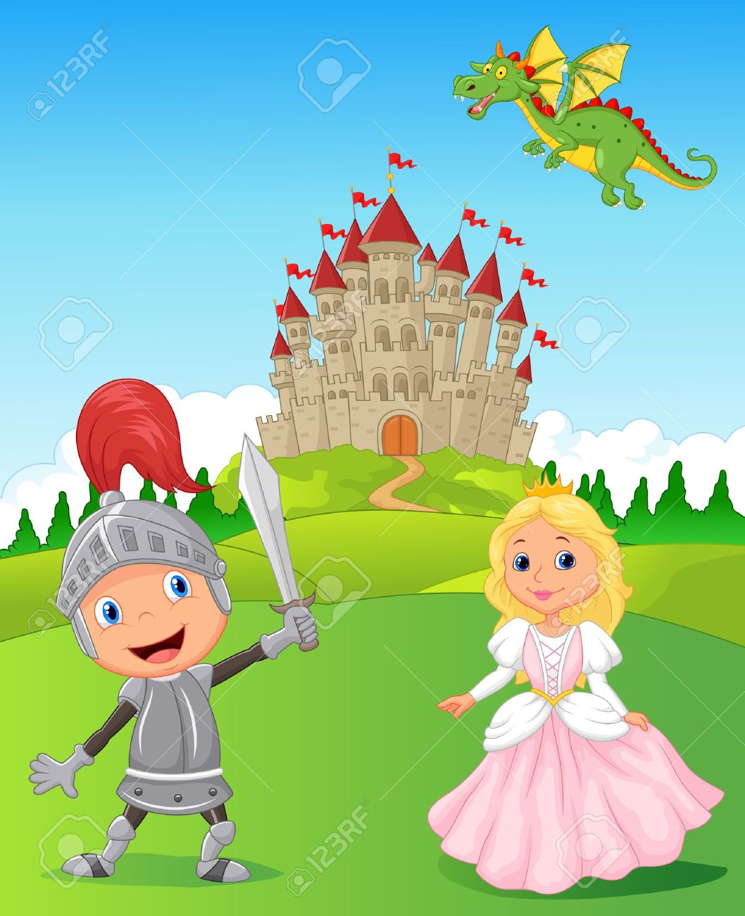 cartoon knight princess and dragon royalty free cliparts vectors