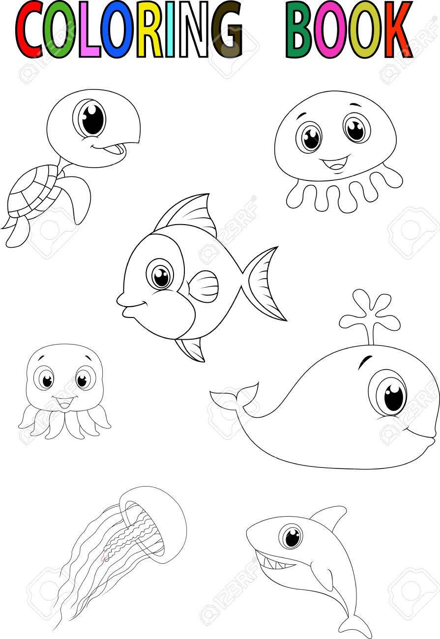 Cartoon Fish Coloring Book Royalty Free Cliparts, Vectors, And ...