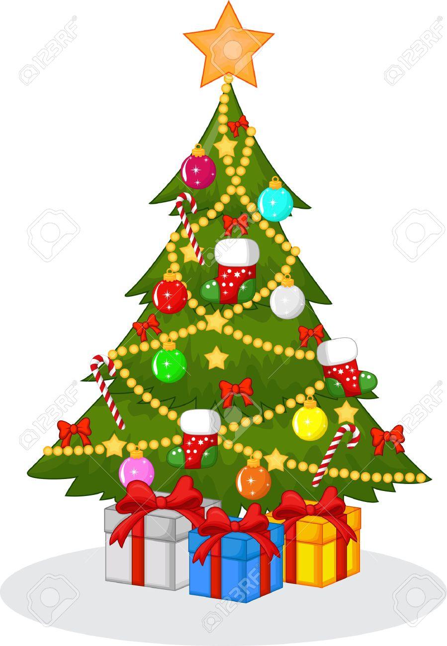 decorated christmas tree cartoon stock vector 33368005 - Dibujos Arboles De Navidad
