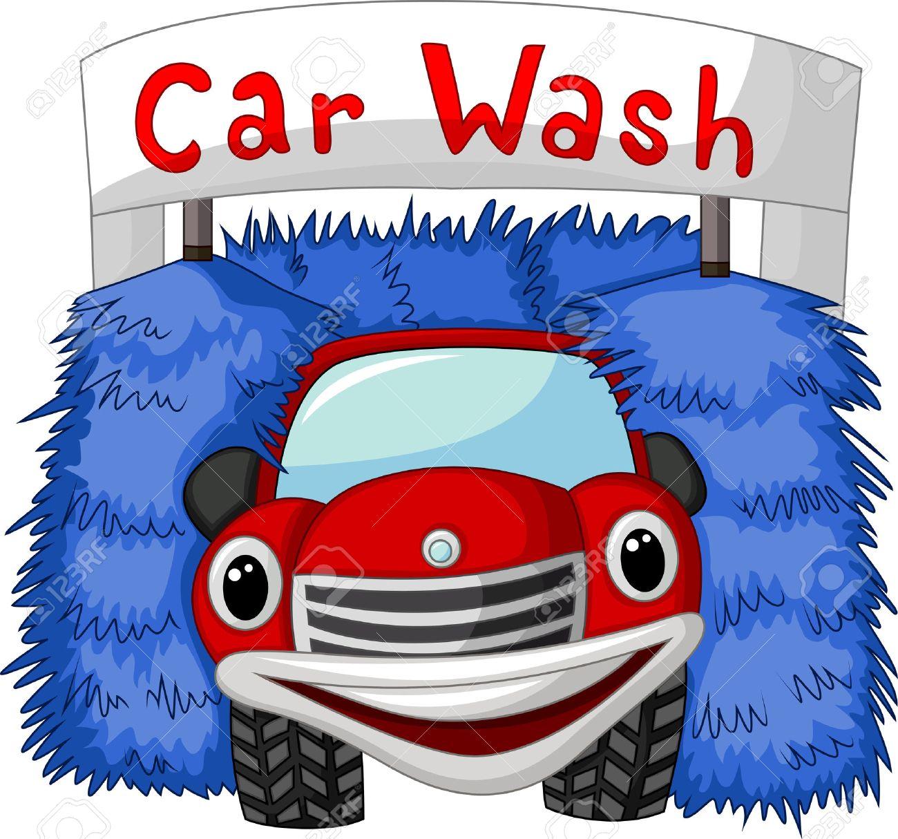 automatic car wash cartoon stock vector 33368009