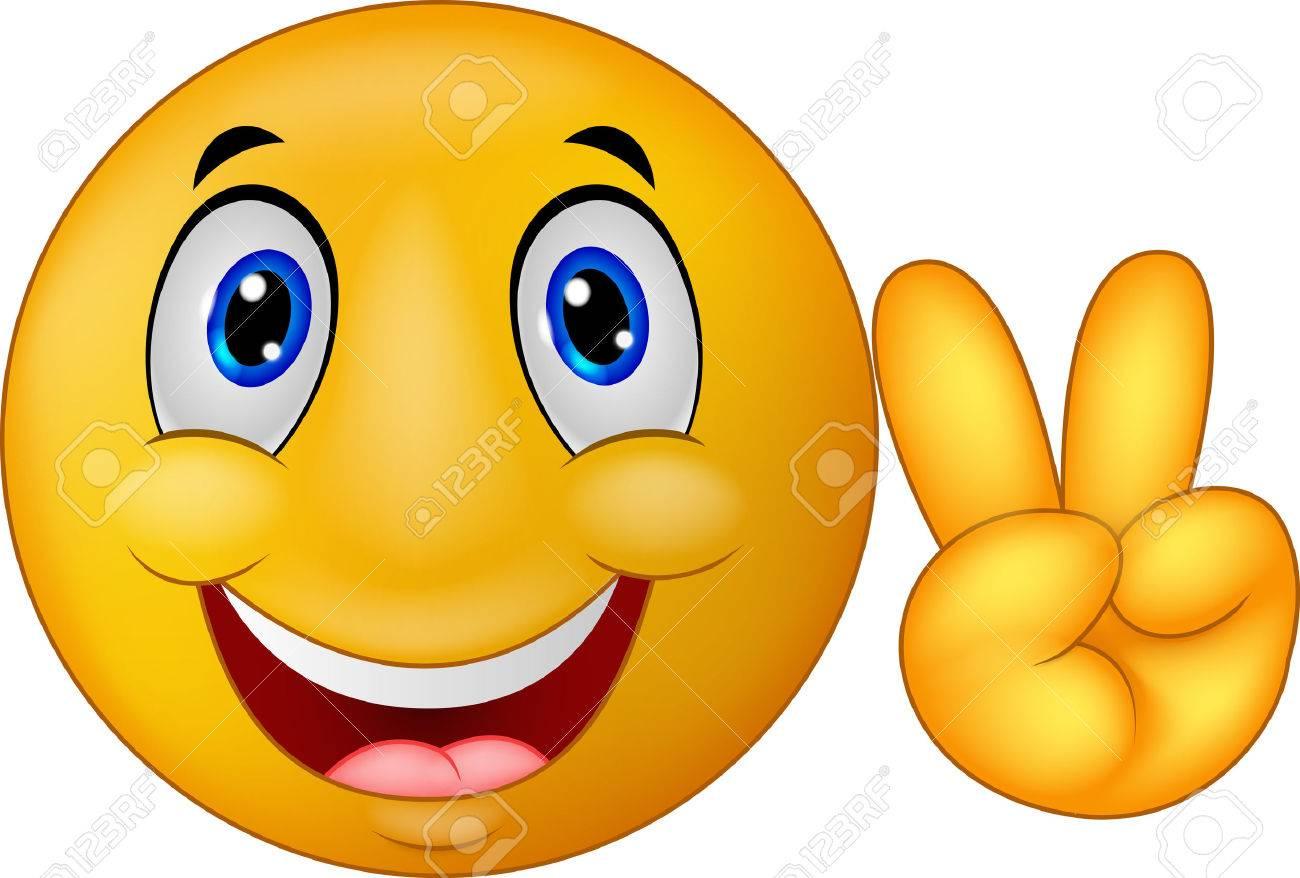 Smiley Cartoon Emoticone Avec V Signe Clip Art Libres De Droits Vecteurs Et Illustration Image 33886517