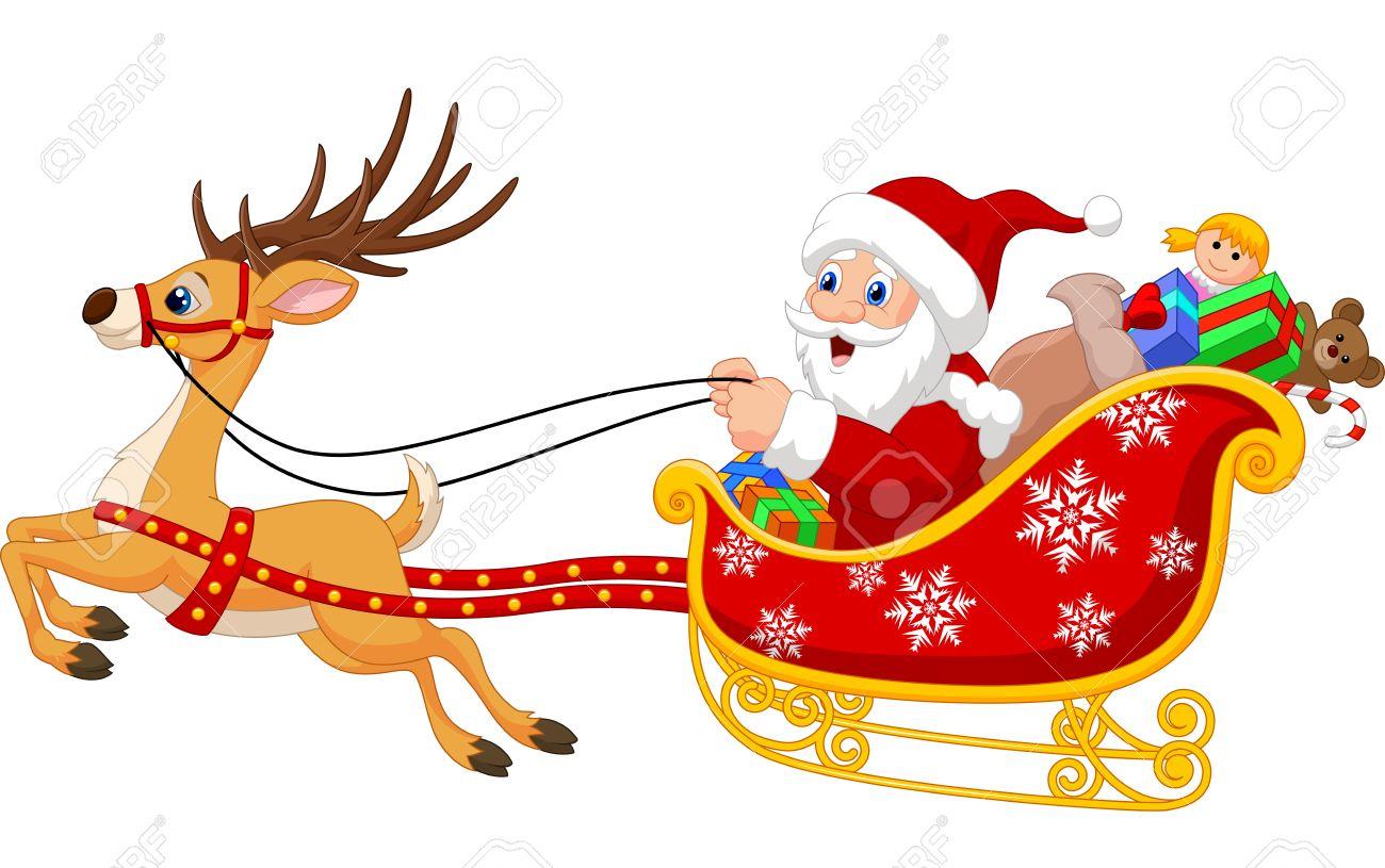 dibujos animados de santa en su trineo de navidad tirado por renos foto de archivo