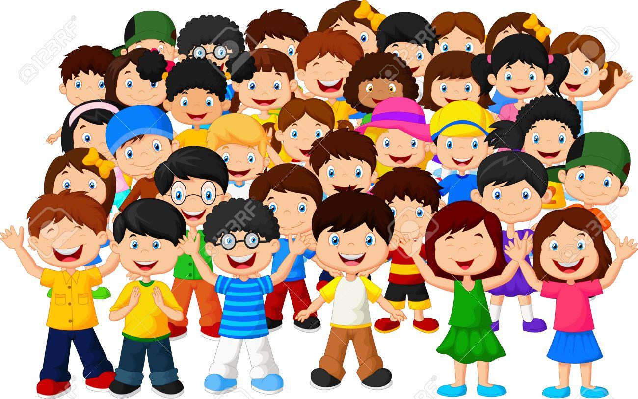 crowd children cartoon stock vector 34099884 - Free Children Cartoon