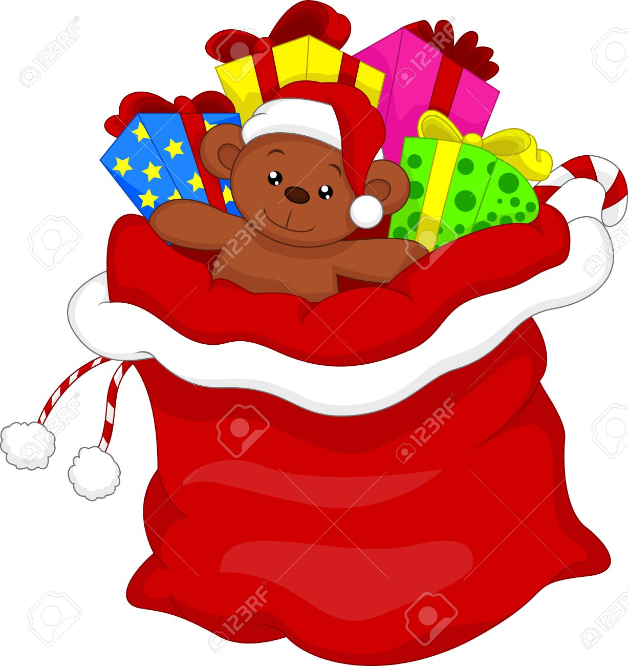 Cartoon santas gift bag full of toys and gifts over white royalty cartoon santas gift bag full of toys and gifts over white stock vector 34098923 negle Image collections