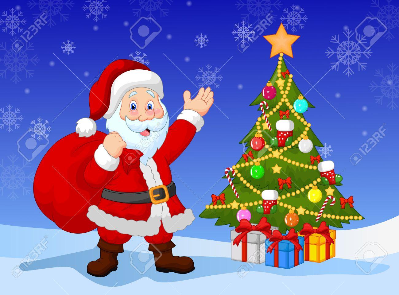 cartoon santa clause with christmas tree stock vector 34098943 - Santa Claus Tree