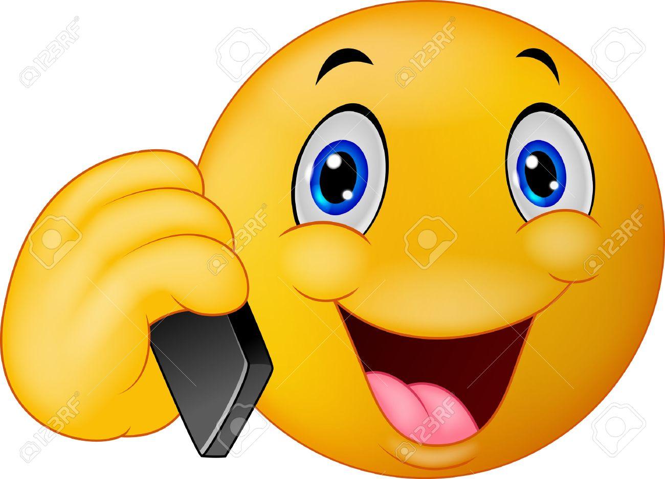 Cartoon émoticônes Smiley Parlant Au Téléphone Cellulaire Clip Art ...