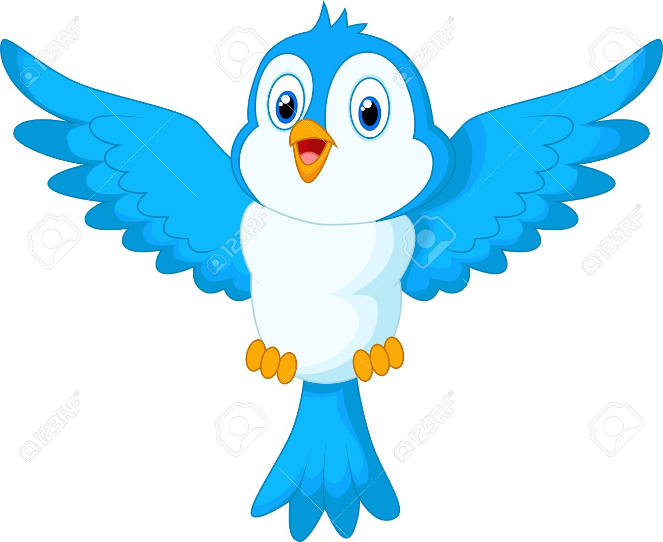 cute cartoon blue bird flying royalty free cliparts vectors and rh 123rf com flying bird clipart images flying bird clipart black