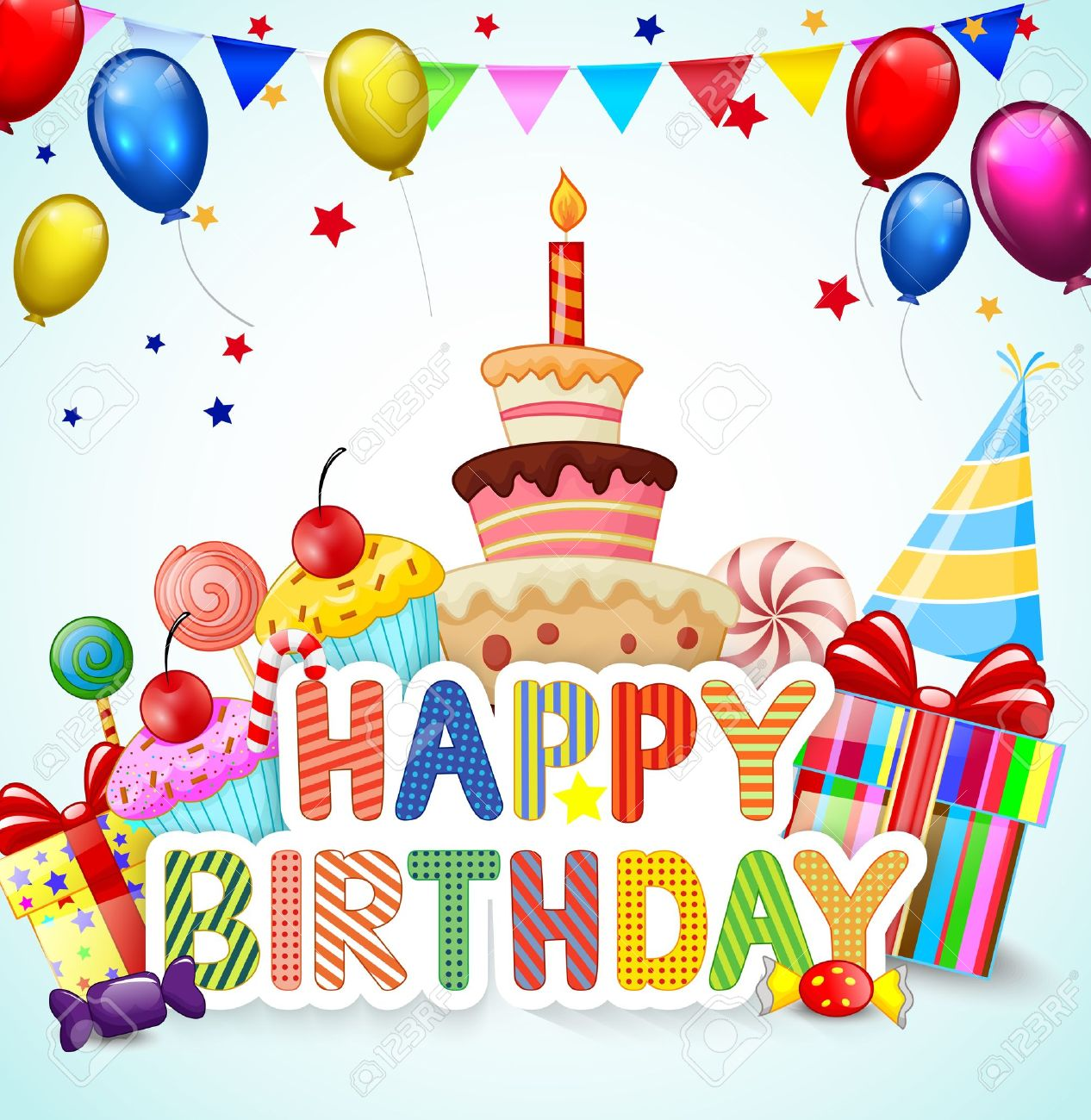 Birthday Background With Birthday Cake Cartoon Royalty Free Cliparts
