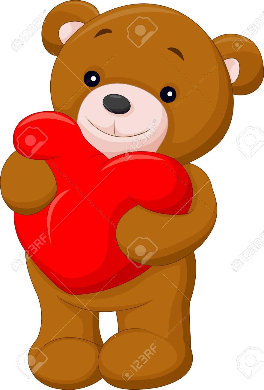 banque dimages bonne dessin anim ours tenant un oreiller en forme de coeur rouge