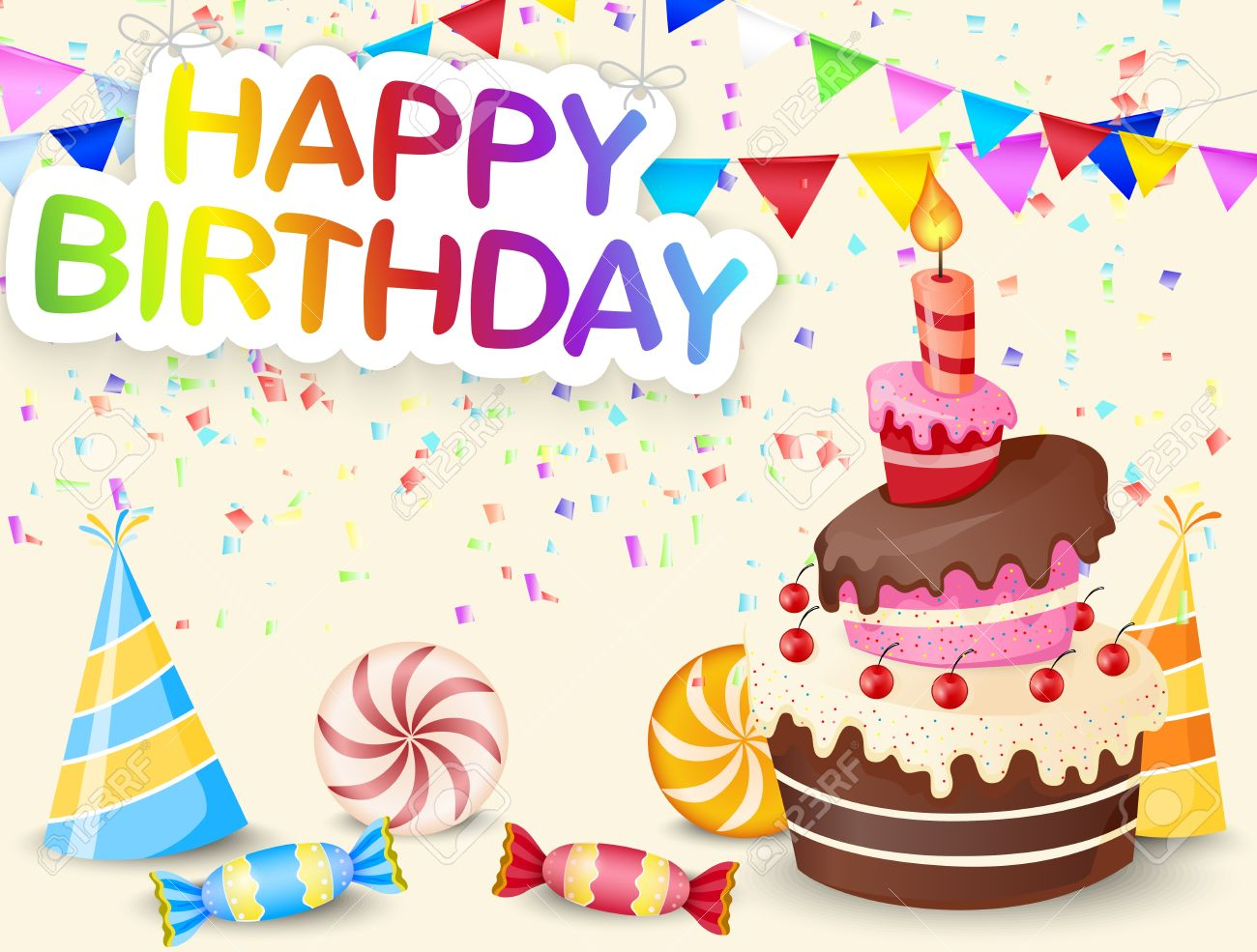 Birthday Background With Cake Cartoon Stock Vector