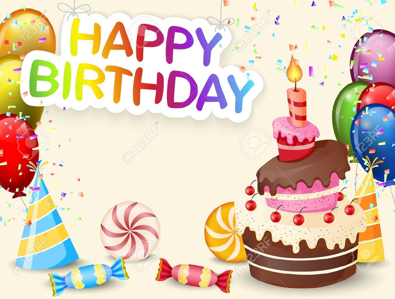 Birthday Background With Birthday Cake Cartoon Royalty Free Cliparts Vectors And Stock Illustration Image 35858776