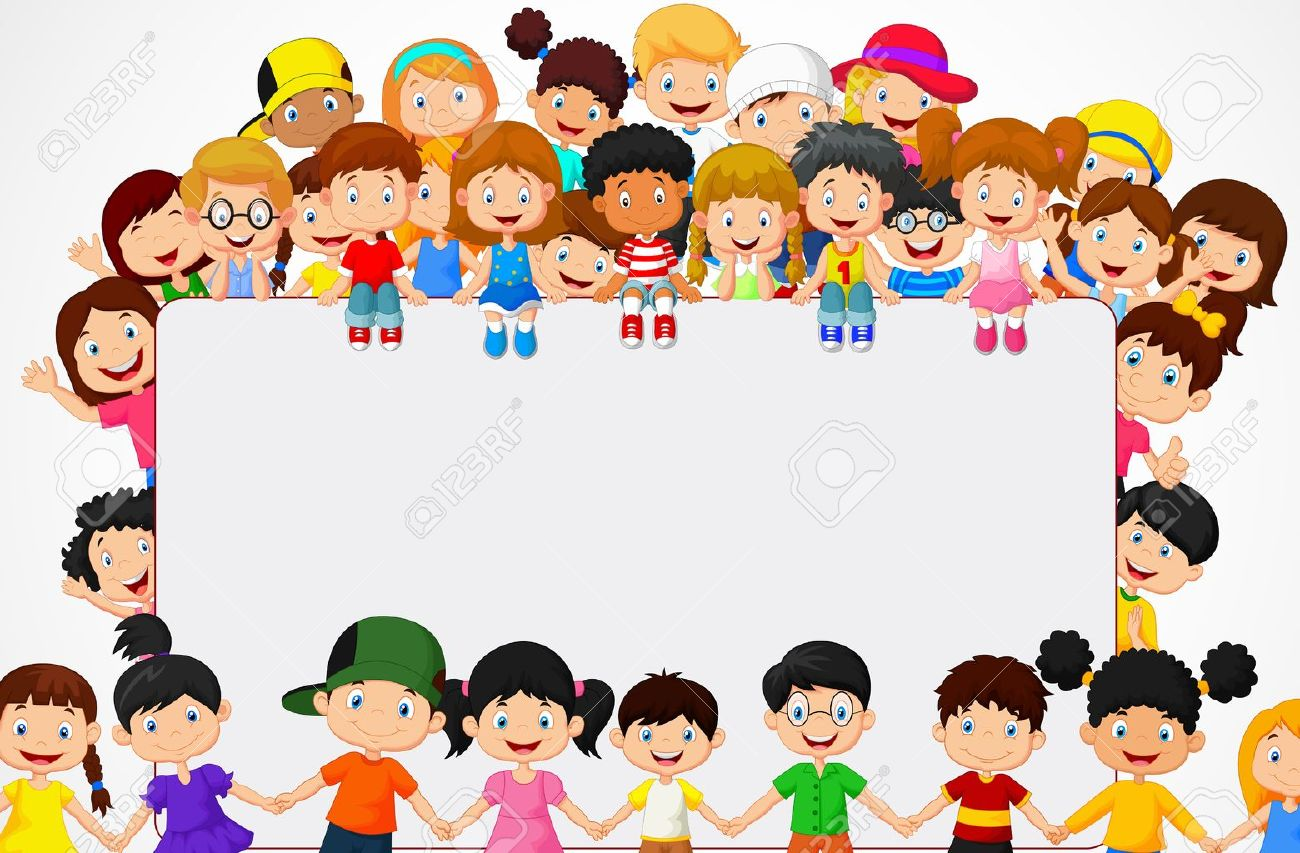 crowd children cartoon with blank sign royalty free cliparts