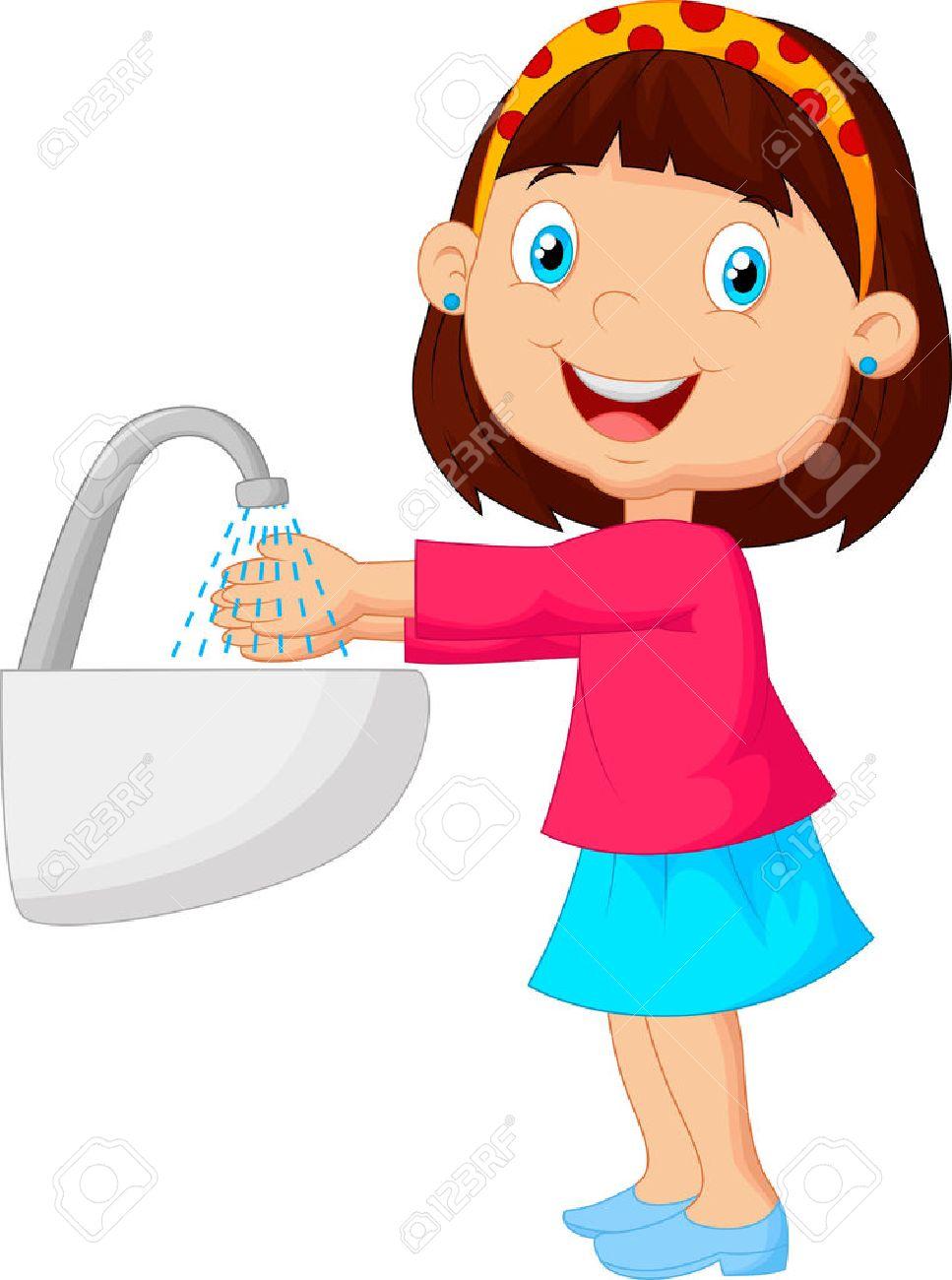 Cute cartoon girl washing her hands - 35863214
