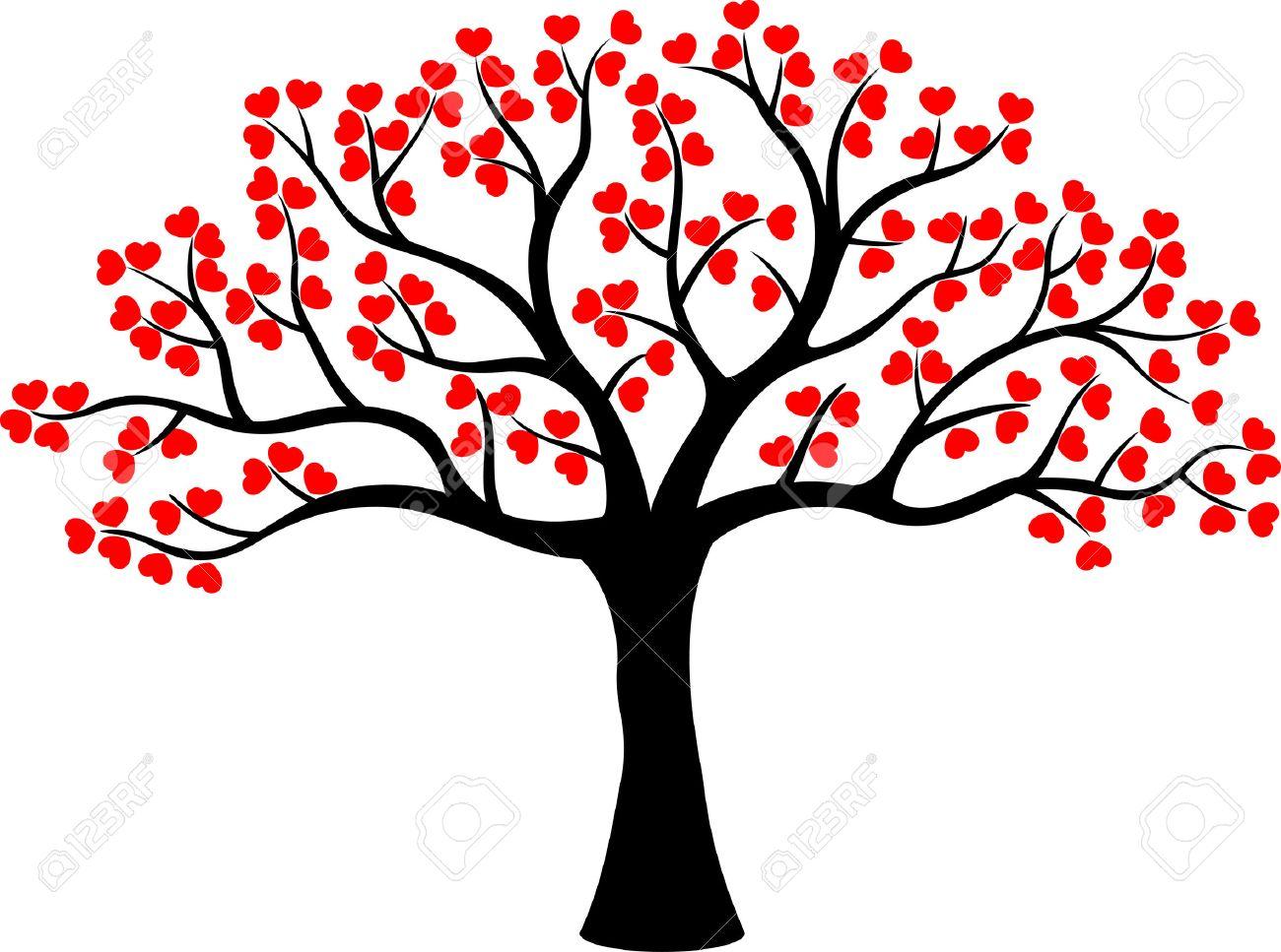 Estilizado De Dibujos Animados árbol De Amor De Corazones