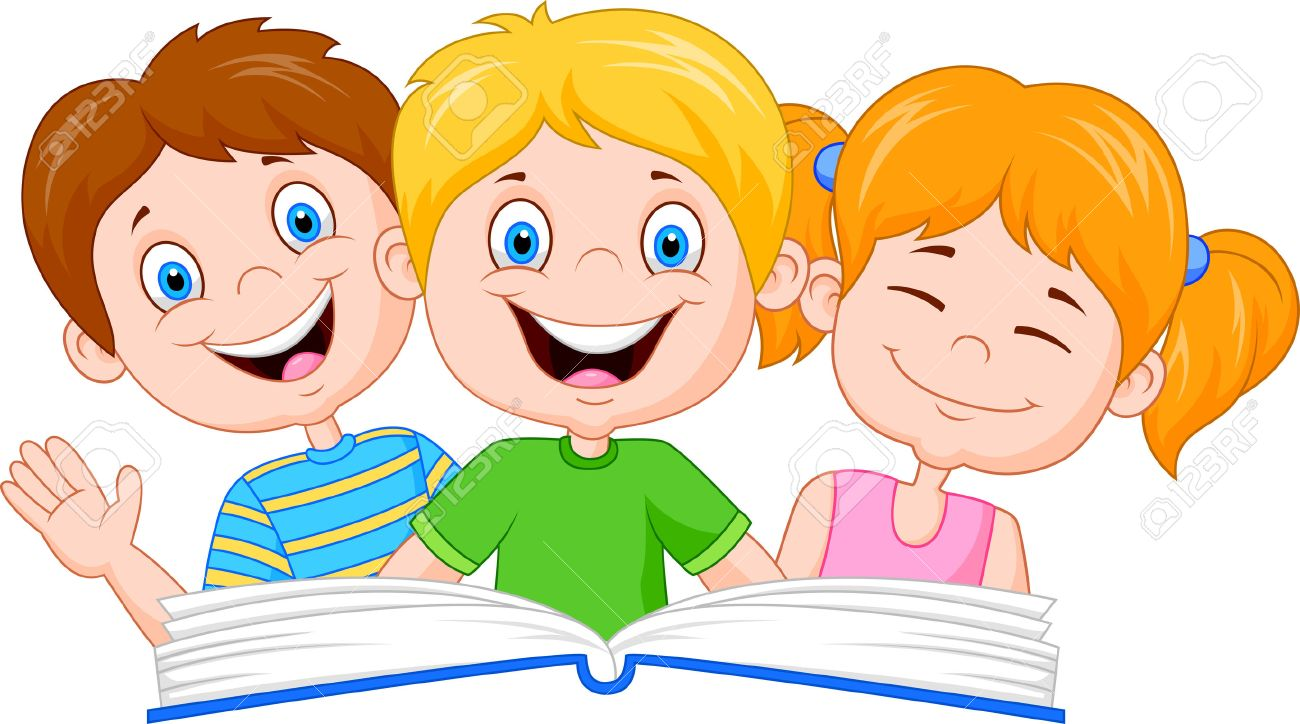 cartoon kids reading book royalty free cliparts vectors and stock