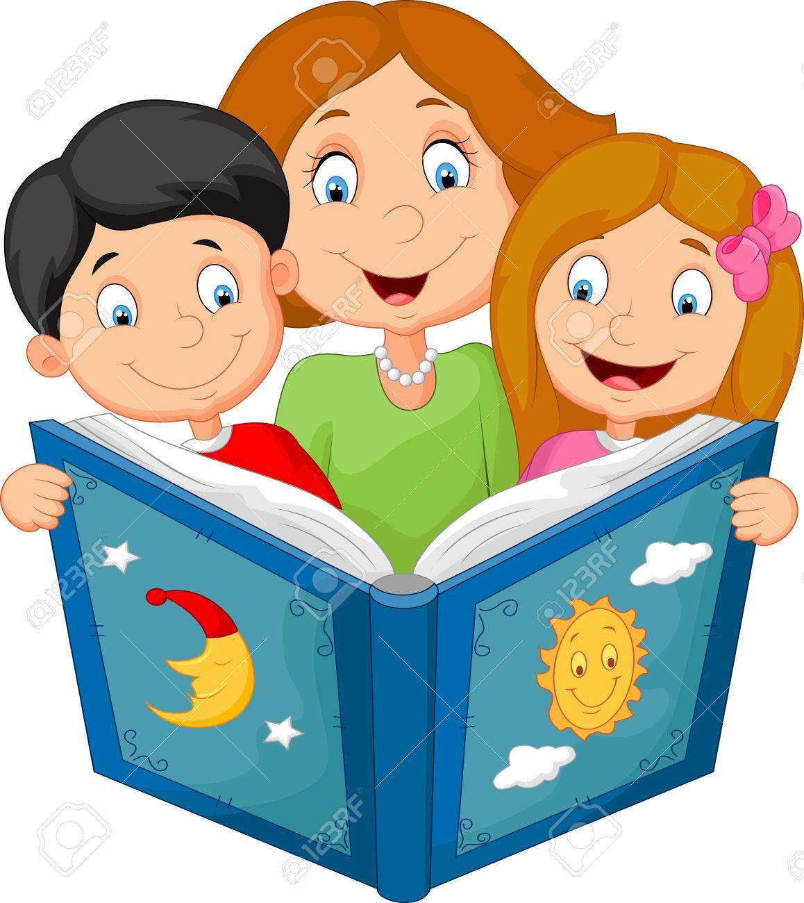 mère cartoon lecture avec ses enfants clip art libres de droits