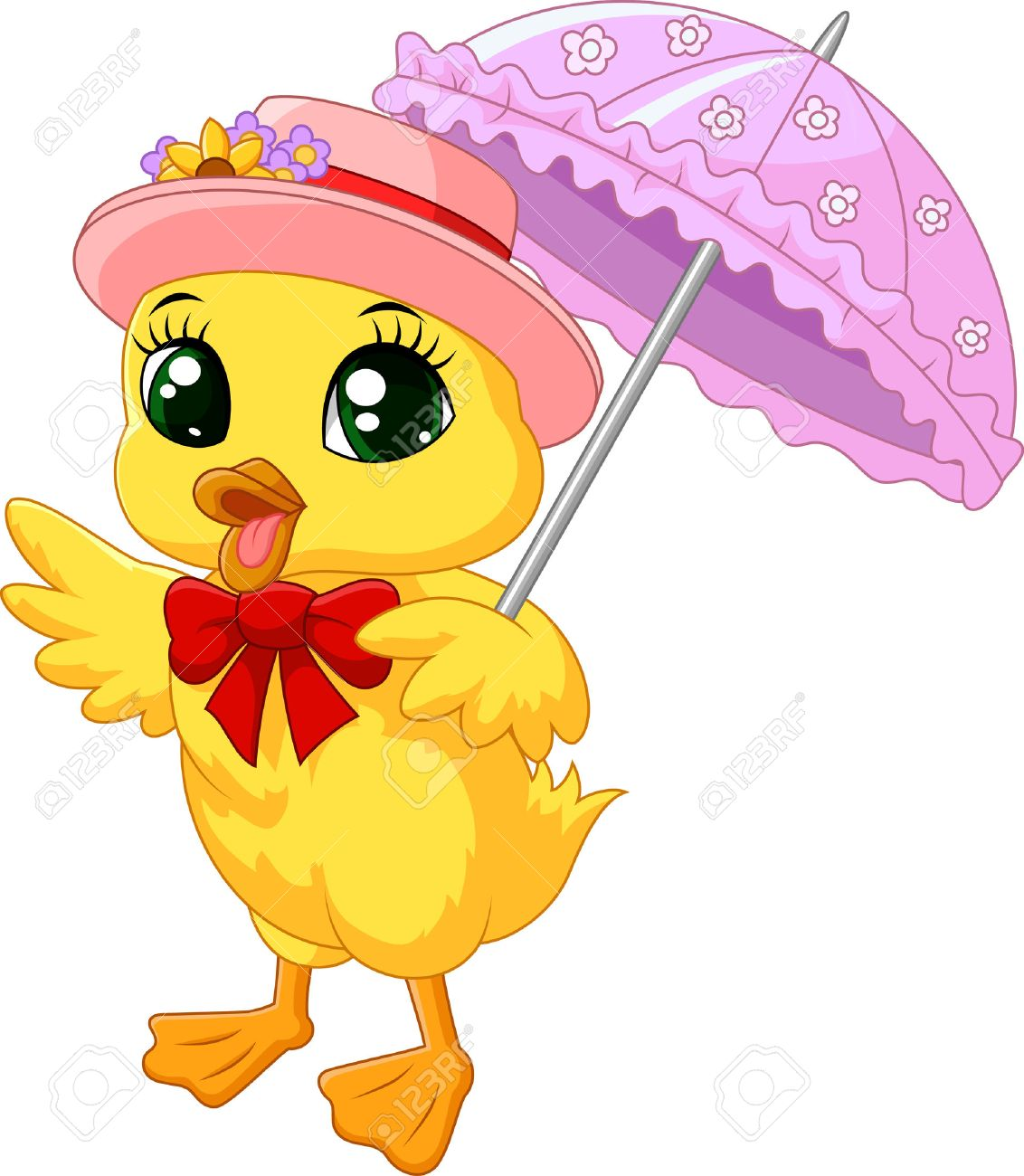 cute cartoon duck with pink umbrella royalty free cliparts