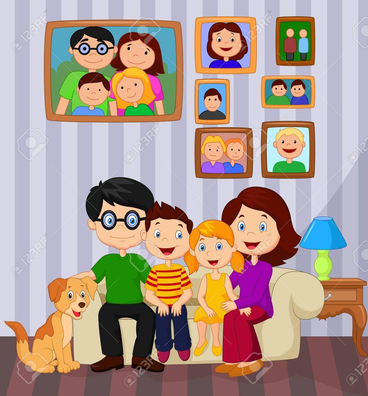 Dibujo Animado De La Familia Feliz Que Se Sienta En El Sofá