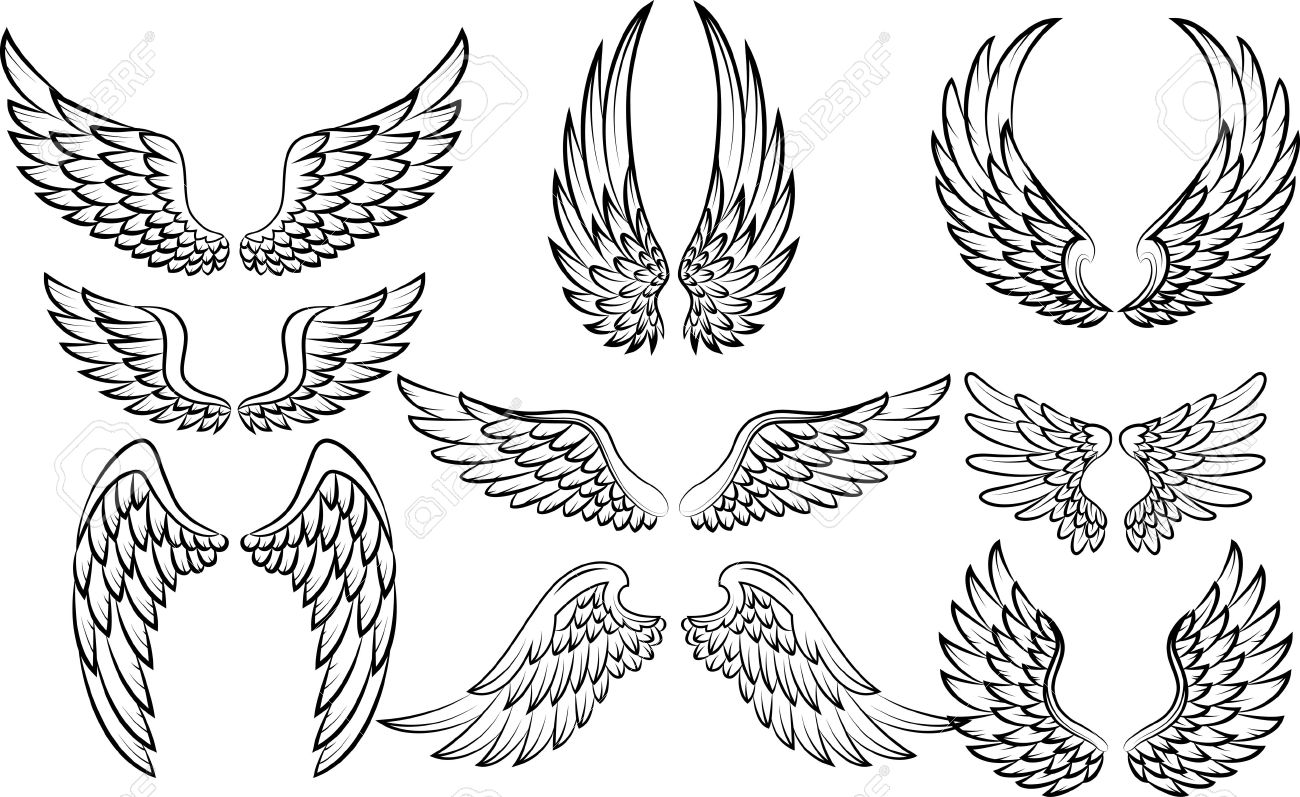 Cartoon Wings Collection Set Royalty Free Cliparts Vectors And