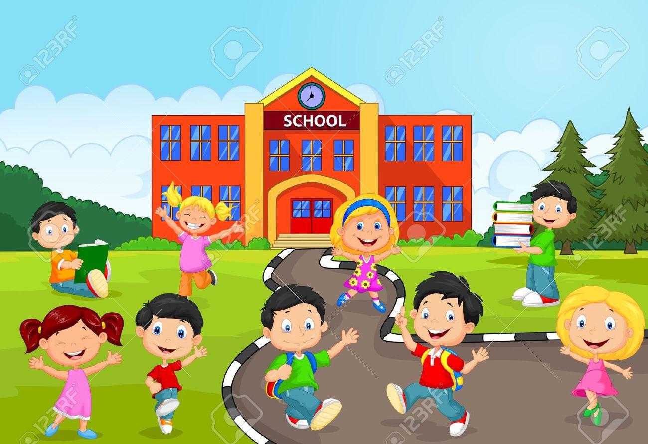 Feliz De Dibujos Animados Niños En Edad Escolar Frente A La Escuela