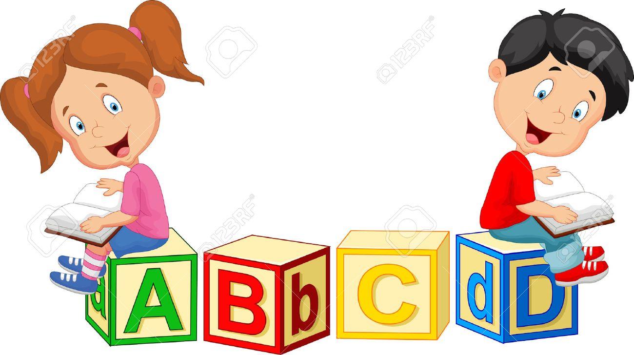 children cartoon reading book and sitting on alphabet blocks royalty rh 123rf com cartoon images of children development cartoon images of children eating