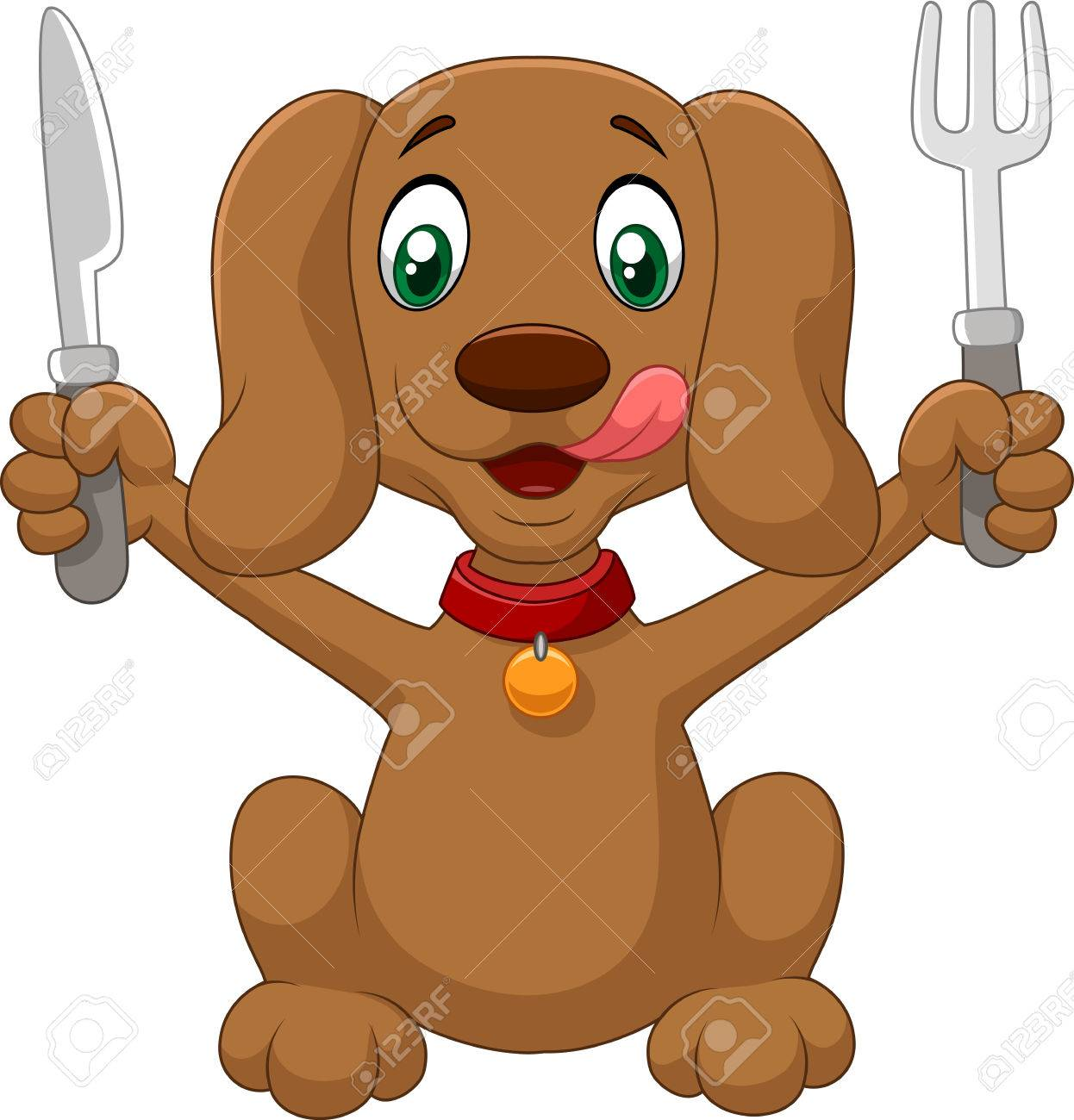 Vettoriale cartone animato cane affamato è pronto da mangiare