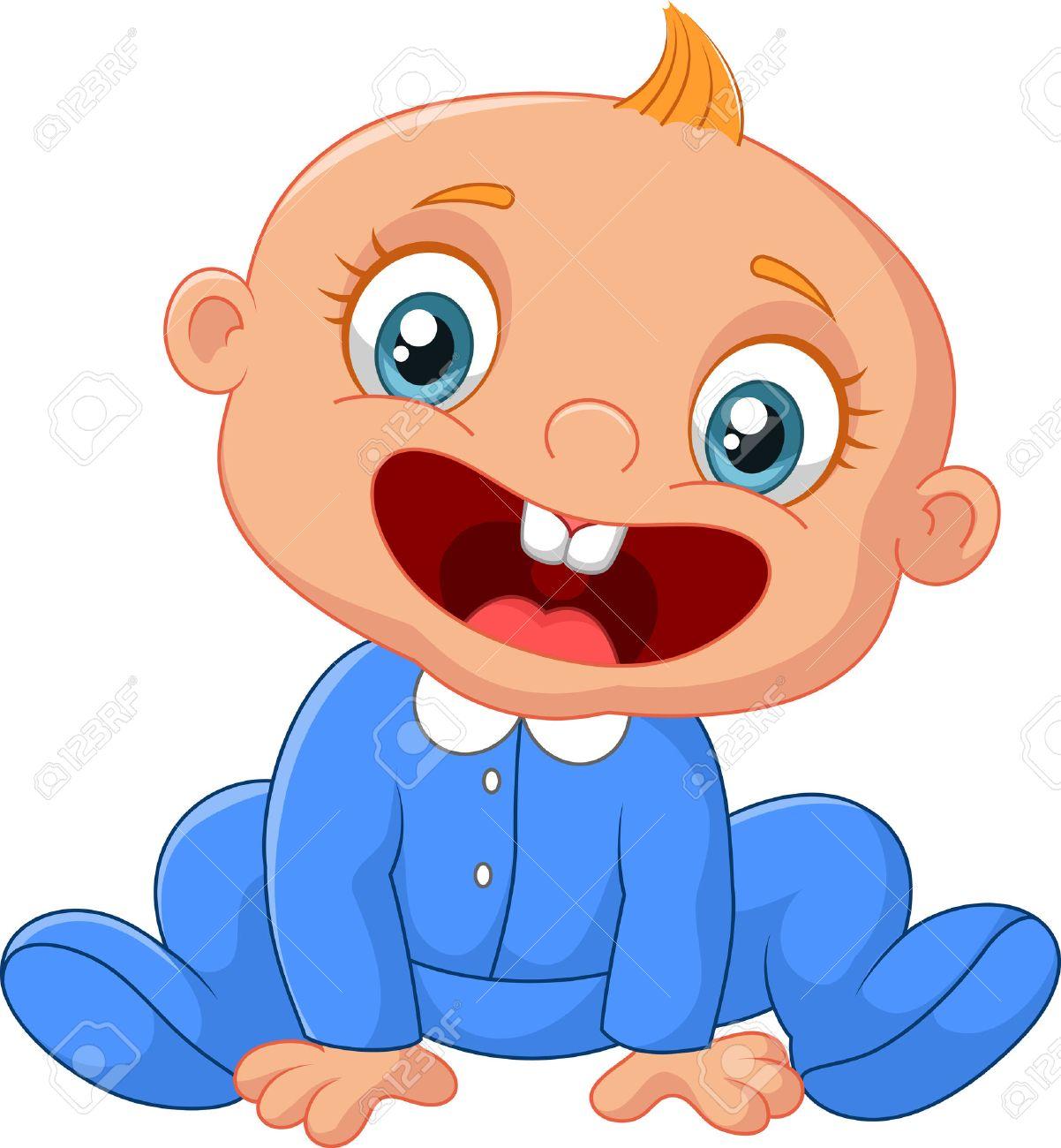 Feliz De Dibujos Animados Bebé Ilustraciones Vectoriales Clip Art Vectorizado Libre De Derechos Image 37538588