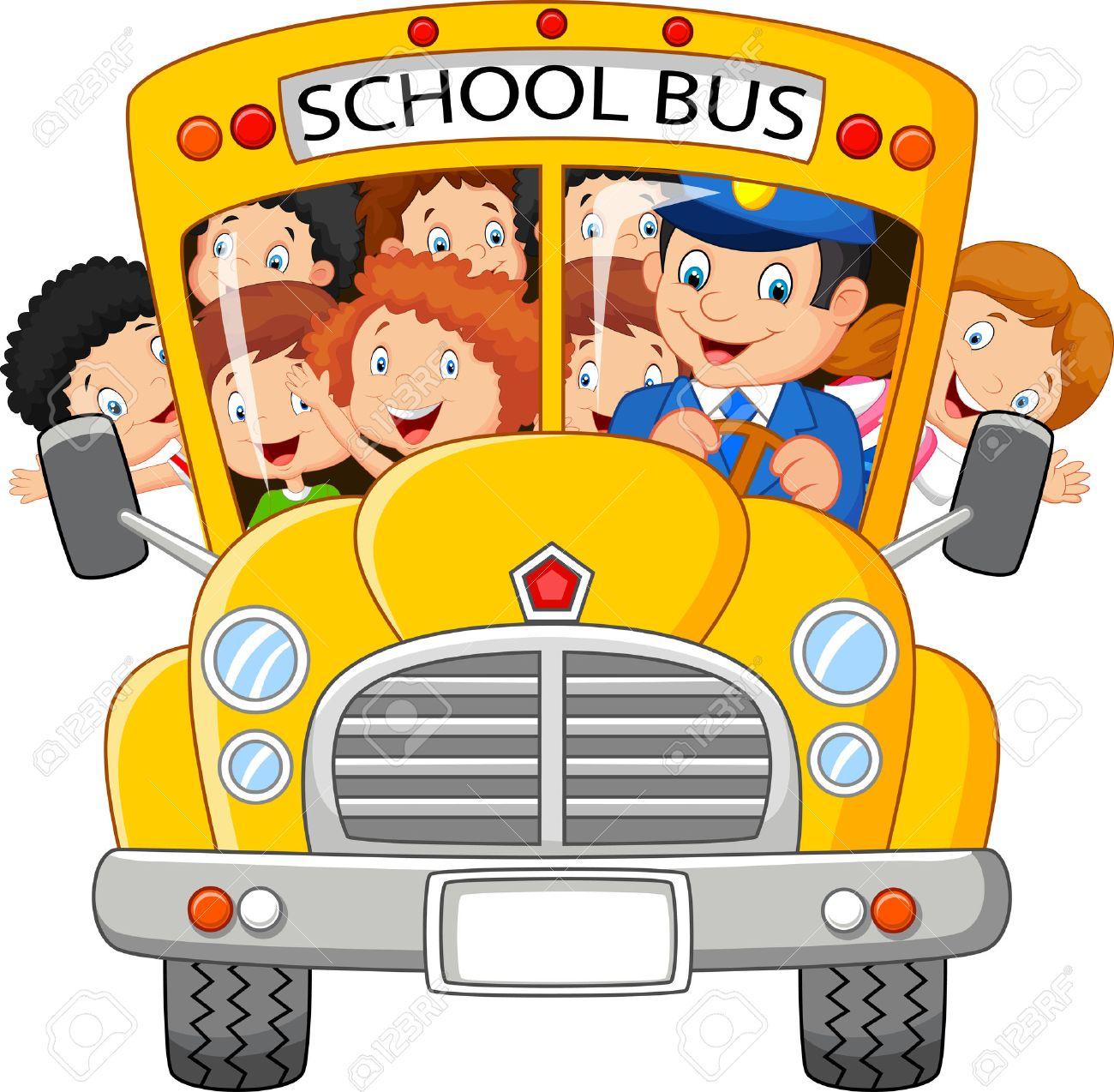 School Kids Cartoon Riding A School Bus Royalty Free Cliparts