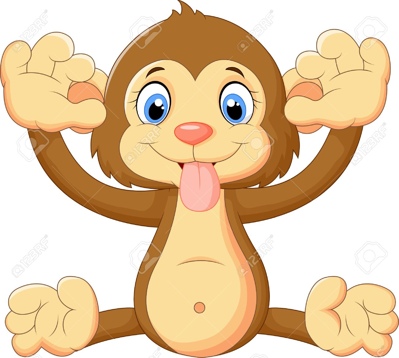 Cartoon monkey making a face and showing his tongue stock vector 38817198